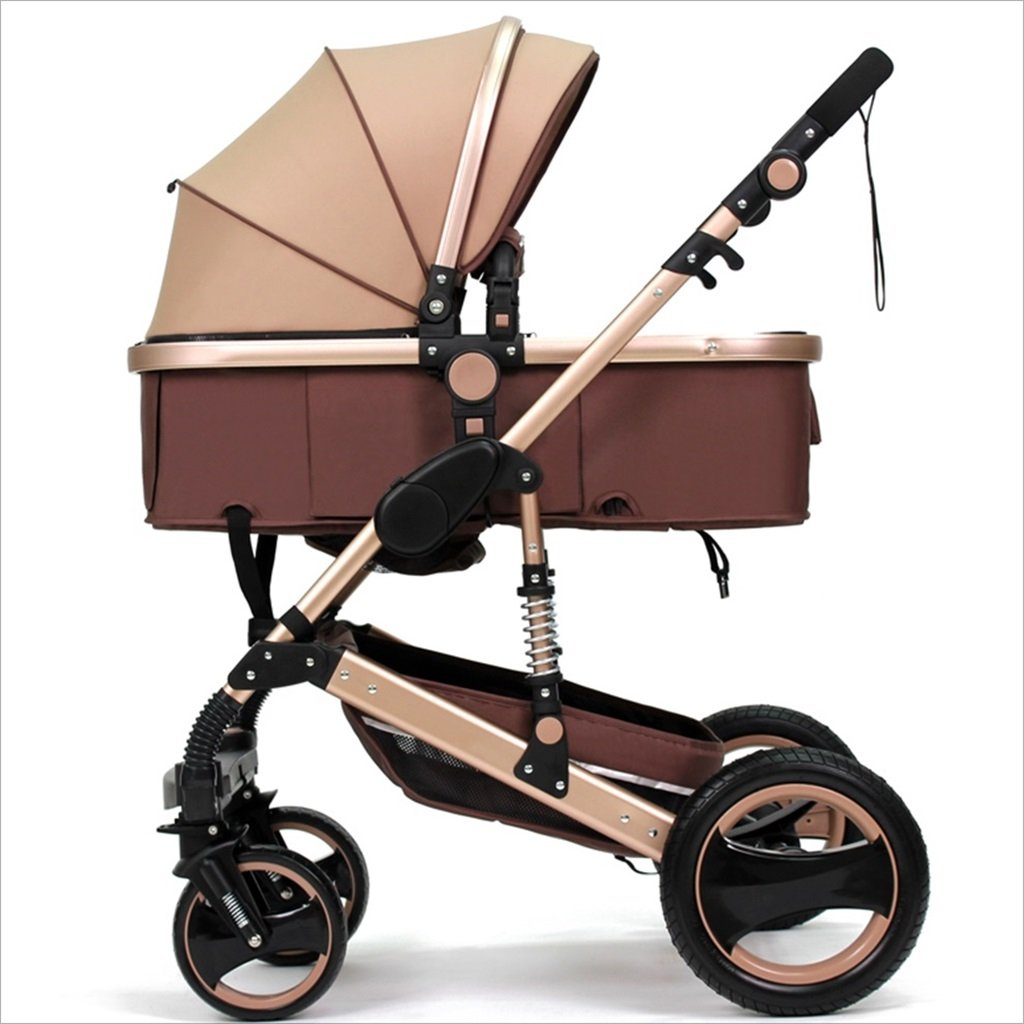 新生児の赤ちゃんキャリッジ折りたたみ可能な座って、1ヶ月のためのダンピングの赤ちゃんカートに落ちることができます 3歳の赤ちゃん2ウェイ四輪ベビートロリーを振るのを避ける (色 : カーキ) B07DVMRW66カーキ