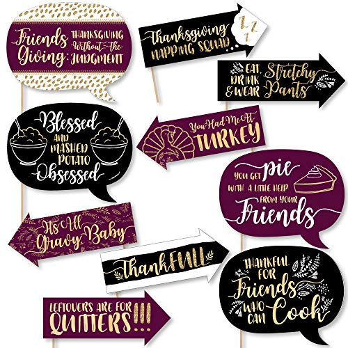 Funny Elegant Thankful for Friends - Friendsgiving Thanksgiving Party Photo Booth Props Kit - 10 Piece