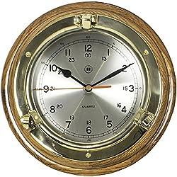 Bey-Berk International Brass Porthole Clock on Oak - Tarnish Proof