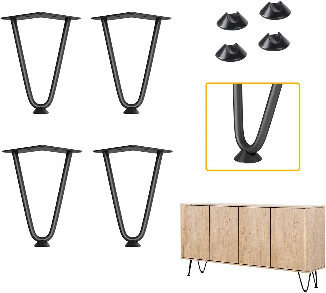 "ELICIT 6"" Furniture Hairpin Legs, 3/8"" Thick Set of Four,for TV Stand,Sofa Cabinet,Night Stands,etc"