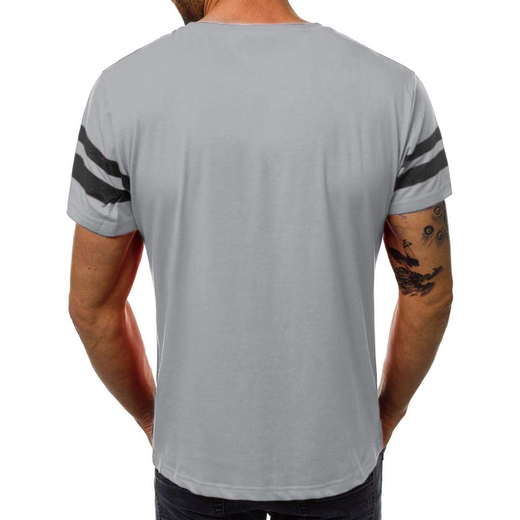Misaky Men Fashion Casual Slim Letter Printed Short Sleeve T Shirt Top Blouse
