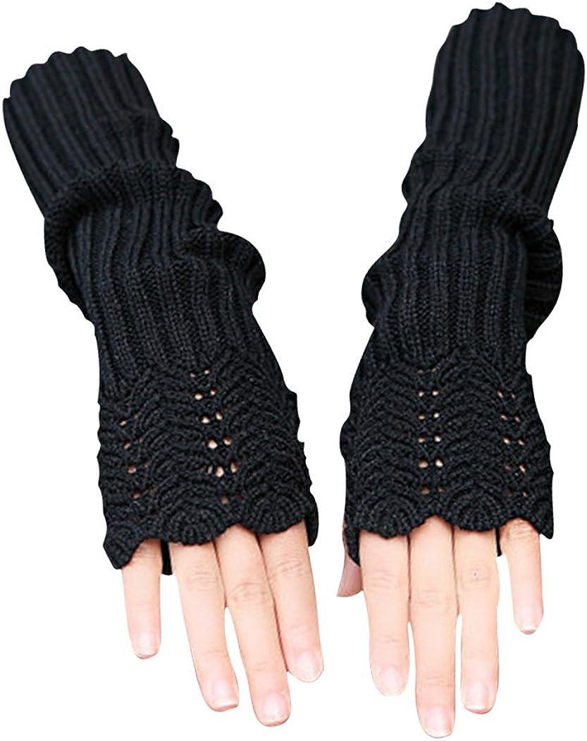 Novawo Women's Scale Design Winter Warm Knitted Long Arm Warmers Gloves Mittens