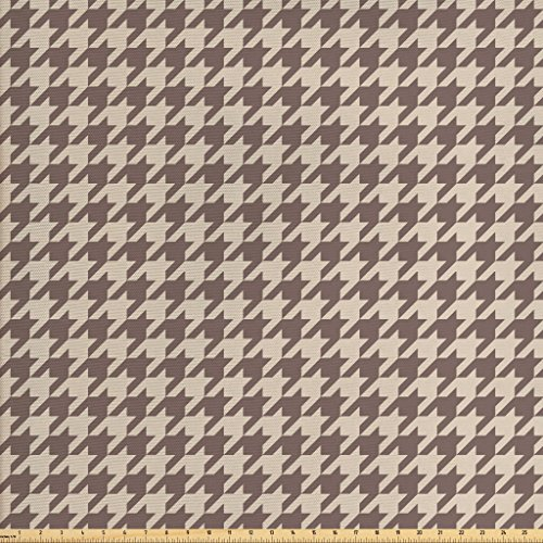 Lunarable Vintage Fabric by The Yard, Traditional Scottish Houndstooth Pattern in Pastel Colors Tartan Plaid Retro, Decorative Fabric for Upholstery and Home Accents, Umber Sand Brown (Houndstooth Fabric Upholstery)