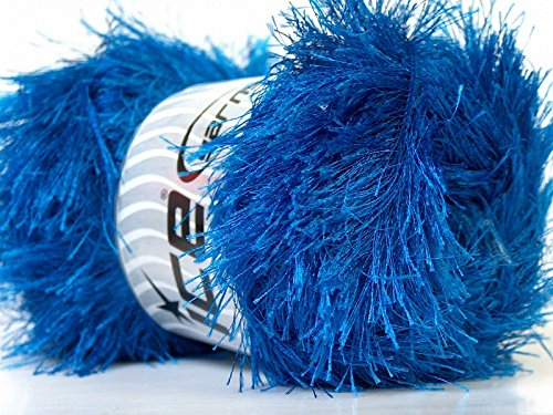 LG 100 gram Royal Blue Eyelash Yarn Ice Fun Fur 164 Yards - Fur Yarn