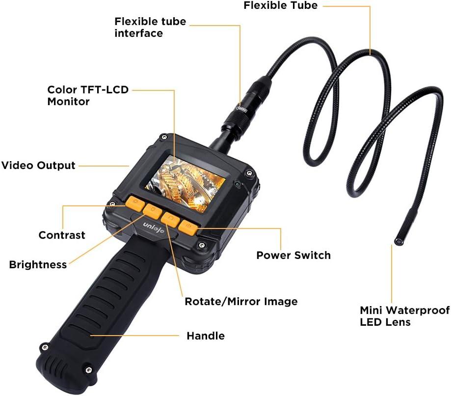 IP67 UNIOJO c/ámara de inspecci/ón digital de mano con endoscopio de boroscopio con pantalla LCD a color de 2,4 pulgadas caja de herramientas di/ámetro de c/ámara de 8 mm ne c/ámara de tubo de serpiente semirr/ígida