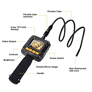 Inspection Camera, UNIOJO Digital Borescope 2.4 inch Color LCD Screen Endoscope Camera with 8MM Camera Diameter IP67 Waterproof Semi-Rigid Snake Tube Camera, Tool Box (Black) (Color: Yellow)