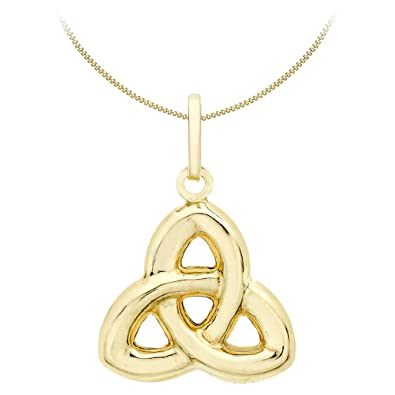 Carissima Gold 9ct Yellow Gold Celtic Knot Pendant on Curb Chain Necklace of 46cm/18 aXR452WOV