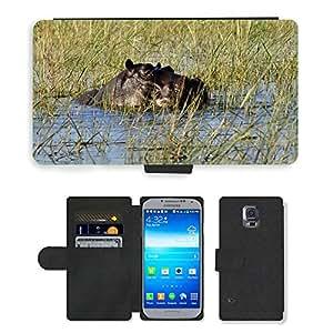 PU LEATHER case coque housse smartphone Flip bag Cover protection // M00115453 Hipopótamo Hippopotamus Agua Río Chobe // Samsung Galaxy S5 S V SV i9600 (Not Fits S5 ACTIVE)