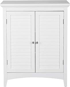 Elegant Home Fashions Glancy Freestanding Floor Cabinet Bathroom Kitchen Living Room Home Storage with 2 Shutter Doors 2 Adjustable Inner Shelves, White