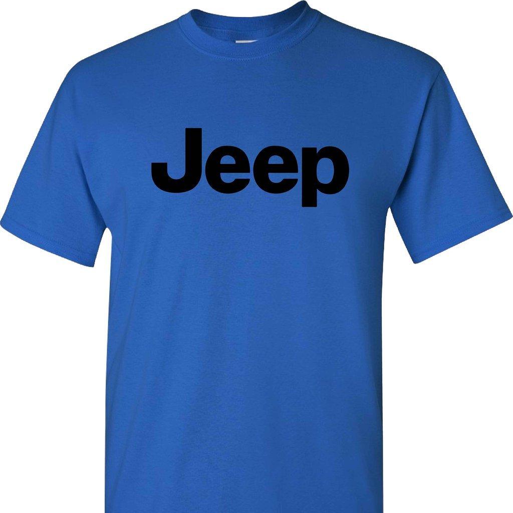 Jeep Logo on a Short Sleeve Blue T Shirt