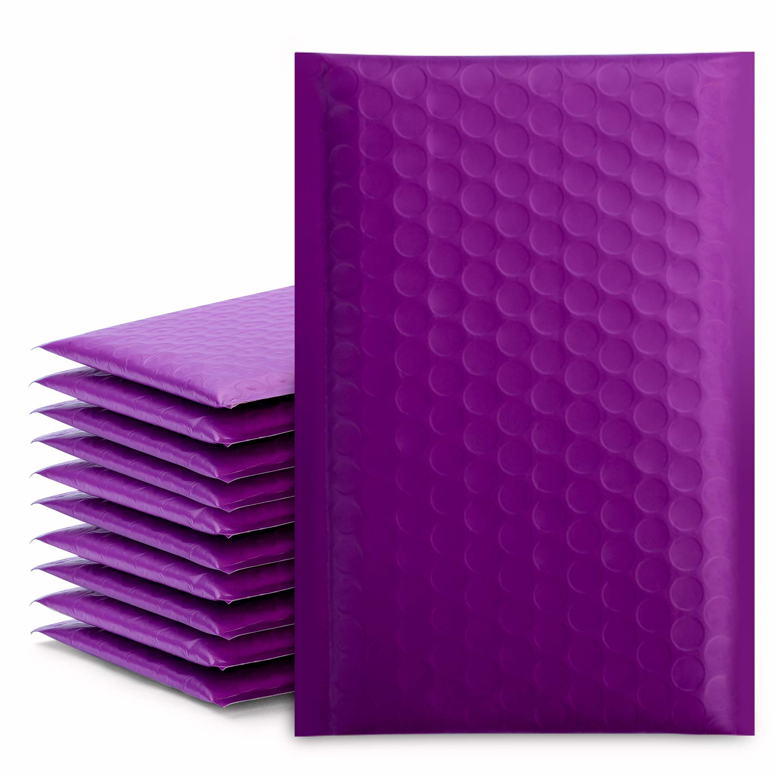 "Fuxury/ Fu Global 4x8"" 50Pcs Poly Bubble Mailers #000, Self Seal Padded Envelopes Bulk with Bubble Lined Wrap- Purple"