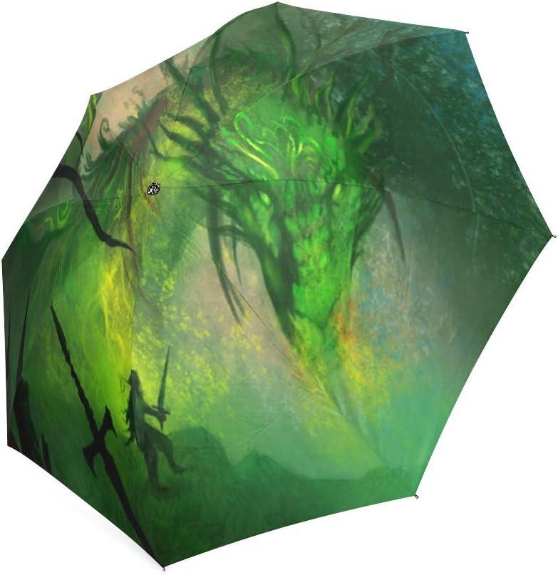 Custom Dragon Compact Travel Windproof Rainproof Foldable Umbrella