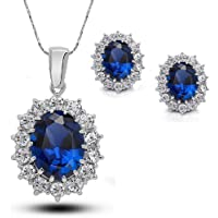 Gespout Silver Crystal Pendant Necklace Set Stud Earrings Shiny Cubic Diamond Jewelry Charming Neck Decoration Lady