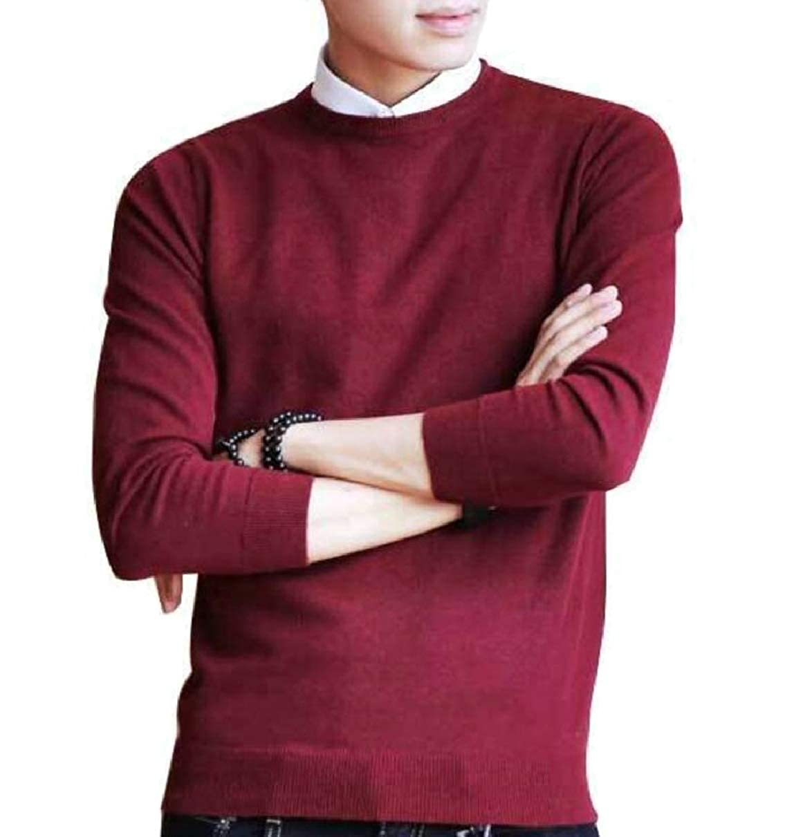 ZXFHZS Mens Lightweight Round Neck Solid Long Sleeve Knitted Pullover Sweaters