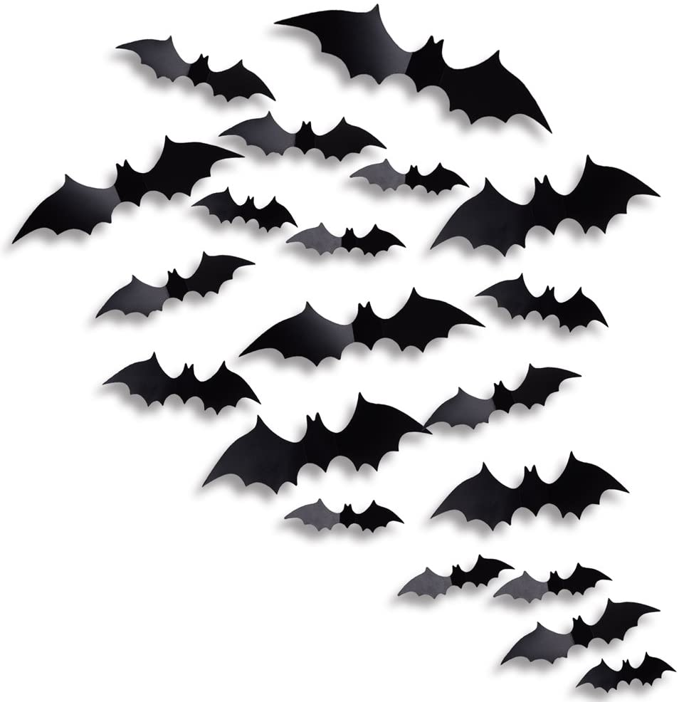 Antner Halloween Party Supplies PVC 3D Bats Removable Decals Stickers Window Decors, 36 Pieces, Black