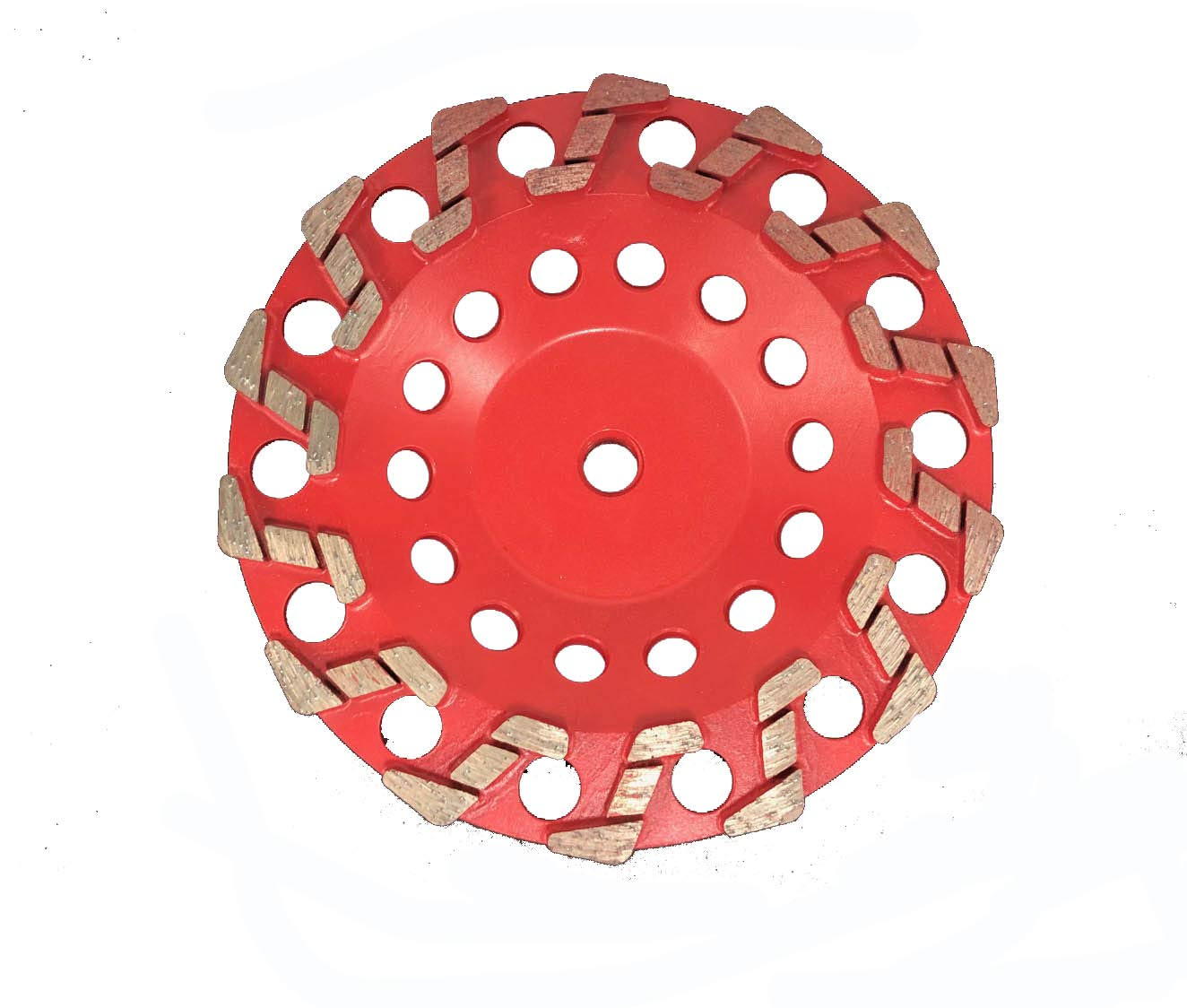 S Segmented Cup Wheel - for Concrete, Masonry and Stone - Non-Threaded (4'', Grit 20).