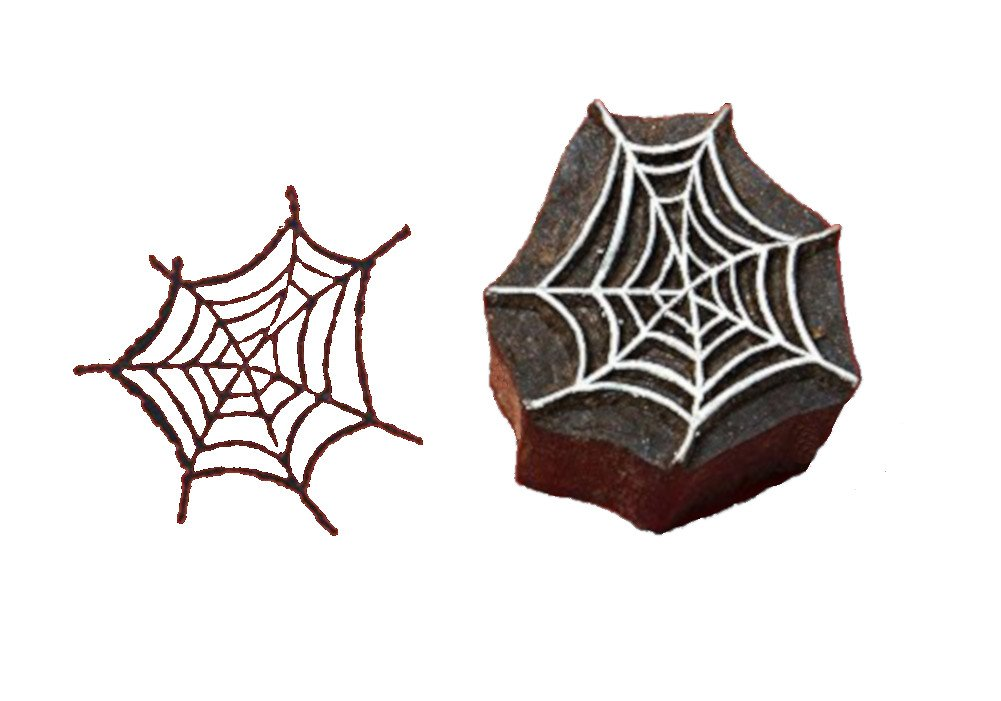 Blockwallah Spider Web Wooden Block Stamp