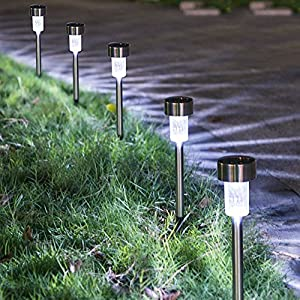 Solar Lights Outdoor [16pack]- Solar Powered Pathway Light - Bright White - Landscape Light For Lawn/Patio/Yard/Walkway/Driveway (Stainless Steel)