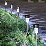 Solar-Lights-Outdoor-16pack-Solar-Powered-Pathway-Light-Bright-White-Landscape-Light-For-LawnPatioYardWalkwayDriveway-Stainless-Steel