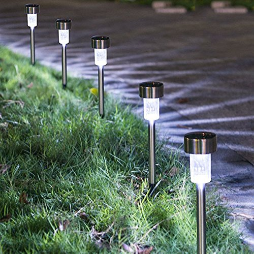 SURSUN Outdoor [16pack]-Solar Powered Pathway Bright White-Landscape Light for Lawn/Patio/Yard/Walkway/Driveway, Stainless Steel