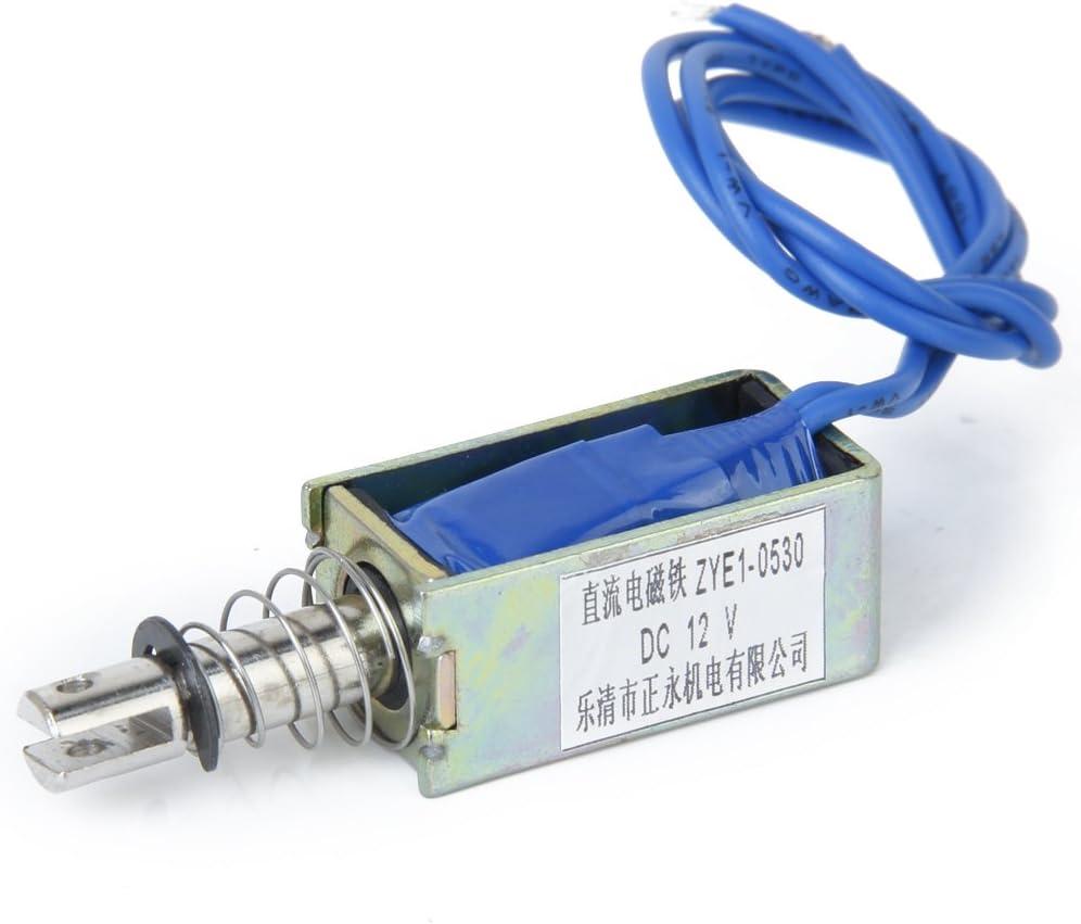 DC 12V Push Type Open Frame Solenoid Electromagnet by NDRTJM ZYE1-0837ZP