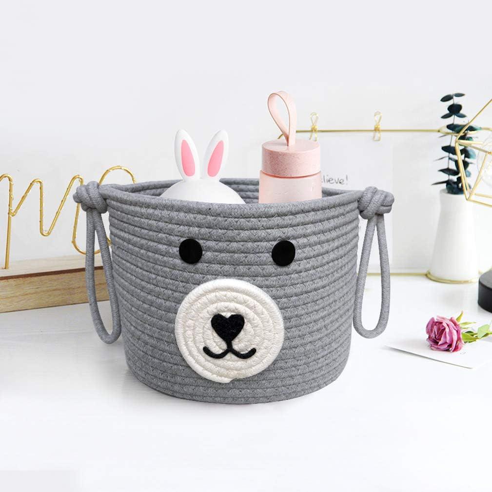 Inwagui Kids Storage Basket Cotton Rope Collapsible Storage Box Cute Home Decor Nursery Hamper Baby Toys Organizer with Handles Khaki