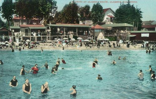 (Alameda, California - Crowds Swimming at Alameda Beach (36x54 Giclee Gallery Print, Wall Decor Travel Poster))