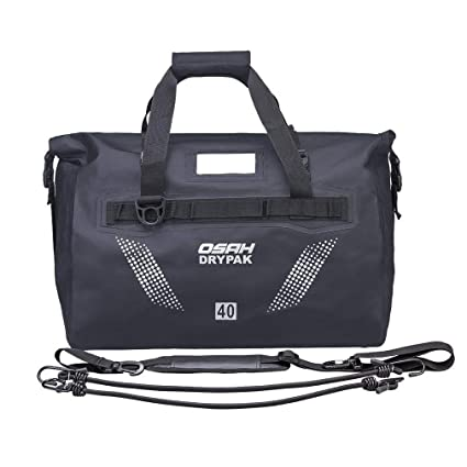 Motorcycle Dry Duffle Tail Bag 1000D PVC Waterproof Saddle Bag Luggage  Reflective Black 40L for Motorcycling a8d68ac6904a6