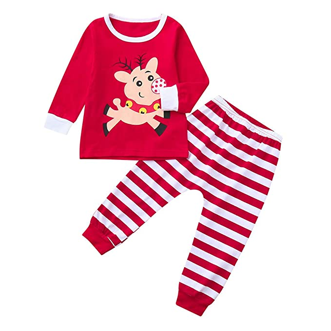 9f1cff33bb1c Amazon.com: BOLUOYI Outfits for Teen Girls Jumpsuit Toddler Baby  Brother&Sister Boy Tops Stripe Pants Christmas Sleepwear Set Cloth Red 80:  Toys & Games