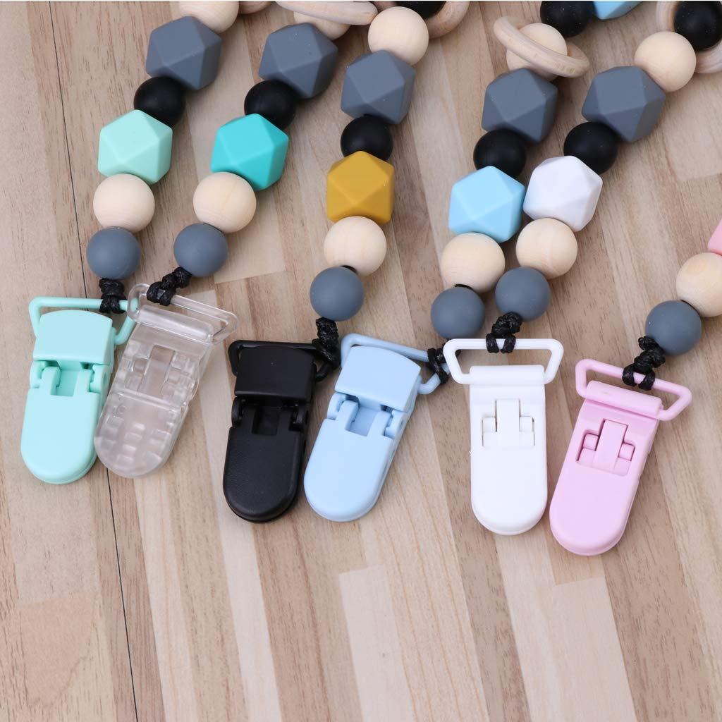 Exing Schnullerketten Schnullerkette Schnullerband,Baby Geschenk zur Geburt,Taufe Silikon,27.5CM Blau Kunststoff Holz