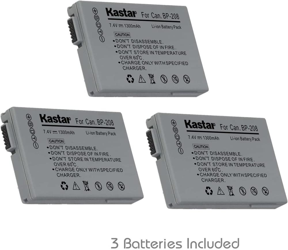 Kastar BP-208 Battery (3-Pack) for Canon DC10 DC19 DC20 DC21 DC22 DC40 DC50 DC51 DC95 DC100 DC200/201/210/211 DC220/230 Elura 100 FVM300 IXY DVS1 MVX1Si/430/450/460 Optura S1 VIXIA HR10