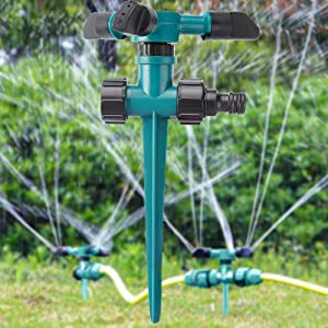 YAUNLEL Garden Lawn Vegetable Garden Yard Sprinkler, 360° Rotating Ground Sprinkler with Up to 3,000 Sq. Ft Coverage-Automatically Watering Irrigation System Leak-Proof.