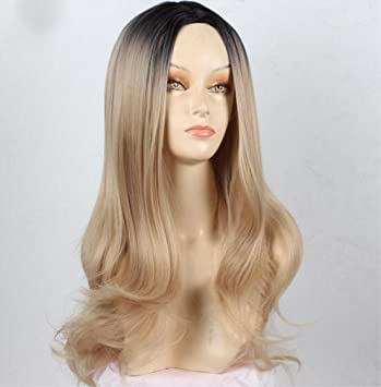 LUCKY-U Pelucas largas rizadas Ombre Color Natural Resistente al Calor Pelo sintético, Vestido