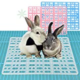 2 Pieces Rabbit Mats for Cages Rabbit Guinea Pig Hamster and Other Small Animal Cage Hole Mat Prevent Pet Skin Disease with 4 Fixed Tabs (Pink)