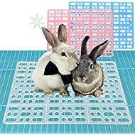 2 Pieces Rabbit Mats for Cages Rabbit Guinea Pig Hamster and Other Small Animal Cage Hole Mat Prevent Pet Skin Disease with 4 Fixed Tabs (Blue)