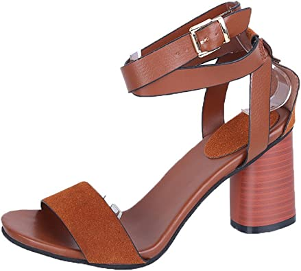 Sandales suédine marron à talon carré