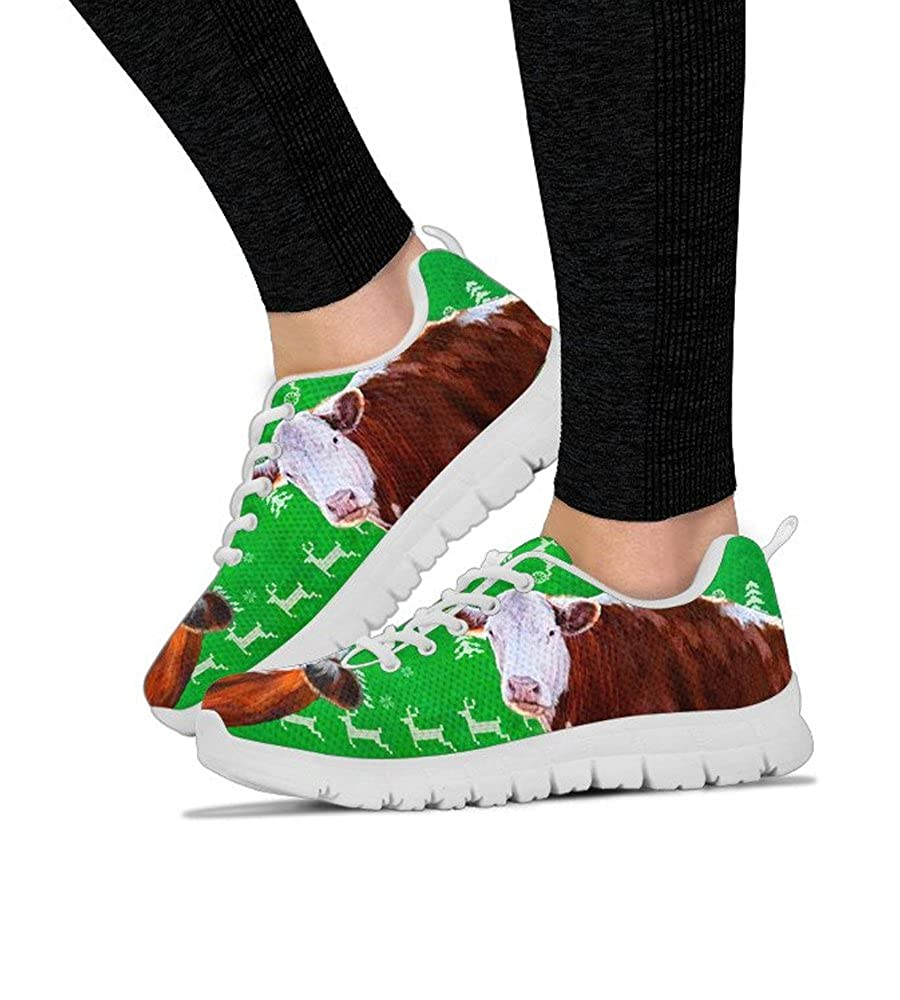 E/&E Solutions Hereford Cattle Cow-Print Casual Running Shoes for Women Sneakers