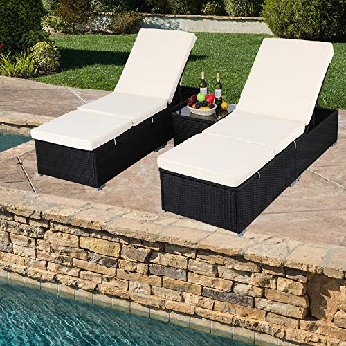 Do4U 3 Pcs Outdoor Patio Synthetic Adjustable Rattan Wicker Furniture Pool Chaise Lounge Chair Set with Table ()