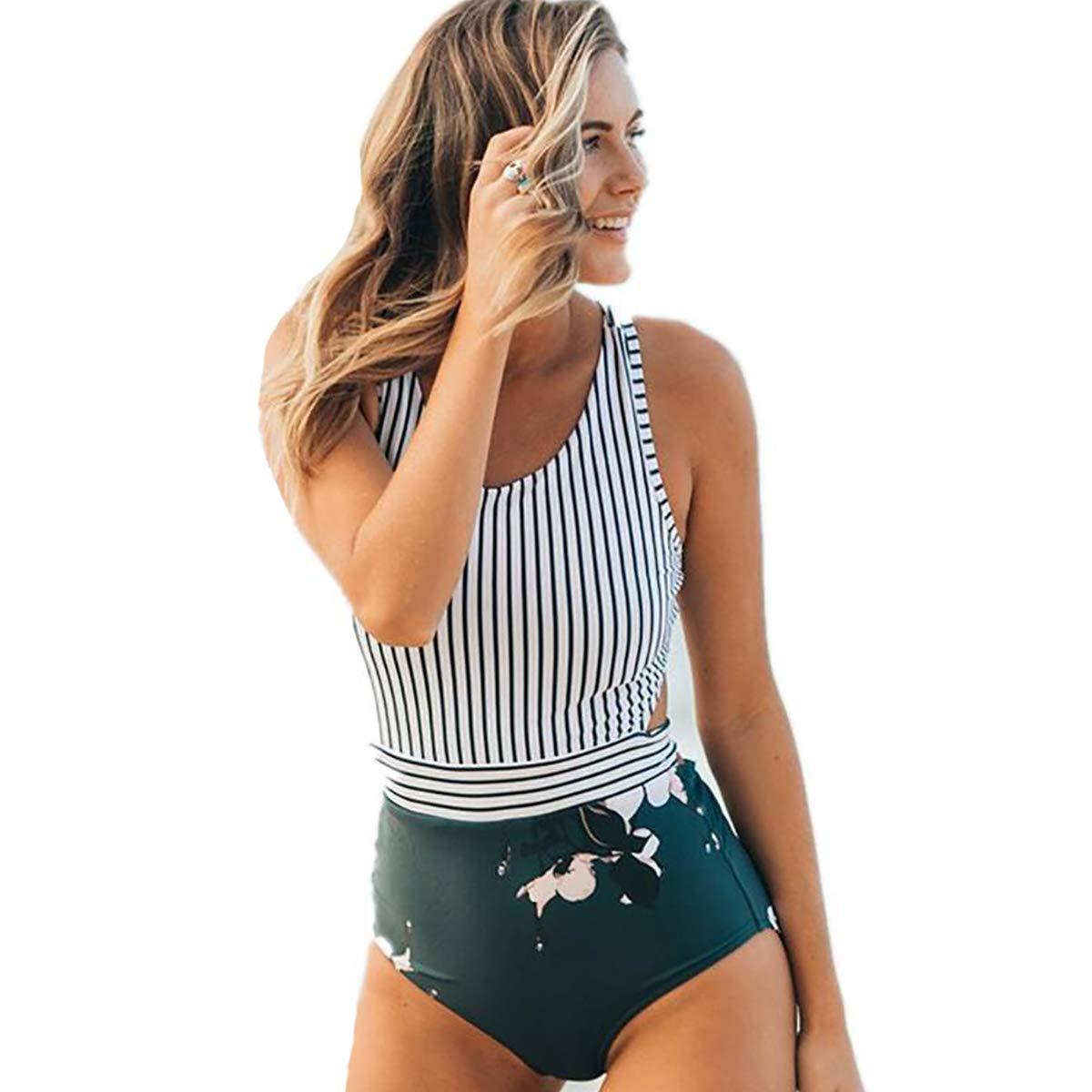 Damen Plus Size Floral Bikini Sets Gepolsterte Bademode Badeanzug Beachwear