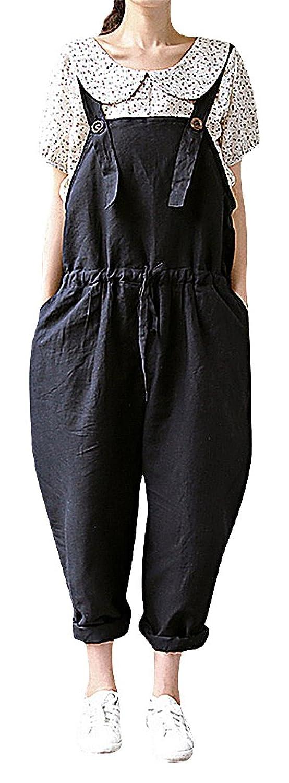 Flora Women's Maternity Dungarees Full Length Oversized Draw Cord Waist Black