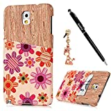 Note 3 Case, Samsung Galaxy Note 3 Case - Badalink Premuim PU Leather ID/Credit Card Hloder Light Weight Slim Fit Hard PC Kickstand Lagging Cover with Dust Plug & Stylus Pen - Sunflowers