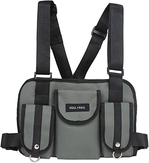 Faviye Vest Chest Bag Fashion Hip Hop Multifunción Chest Pocket ...