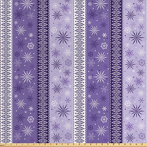 Ambesonne Ethnic Fabric by the Yard, Arabesque Scroll Western Christmas Snowflakes Middle Eastern Noel Print, Decorative Fabric for Upholstery and Home Accents, Lavender Violet White ()