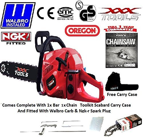 NEW 2016 62CC PETROL CHAINSAW 18 OREGON BAR 1 OREGON CHAIN WALBRO CARB NGK CARRY CASE SCABBARD TOOL KIT by xxx powertools