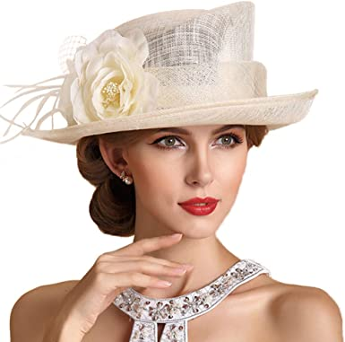 FADVES Women Wide Brim Church Derby Dress Fascinator Wedding Party Sinamay Hat