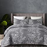 queen duvet cover grey - Vaulia Lightweight Microfiber Duvet Cover Set, Grey and White Floral Pattern -Queen Size