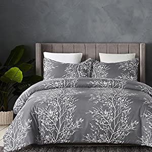 Vaulia Lightweight Microfiber Duvet Cover Set, Grey and White Floral Pattern -Queen Size