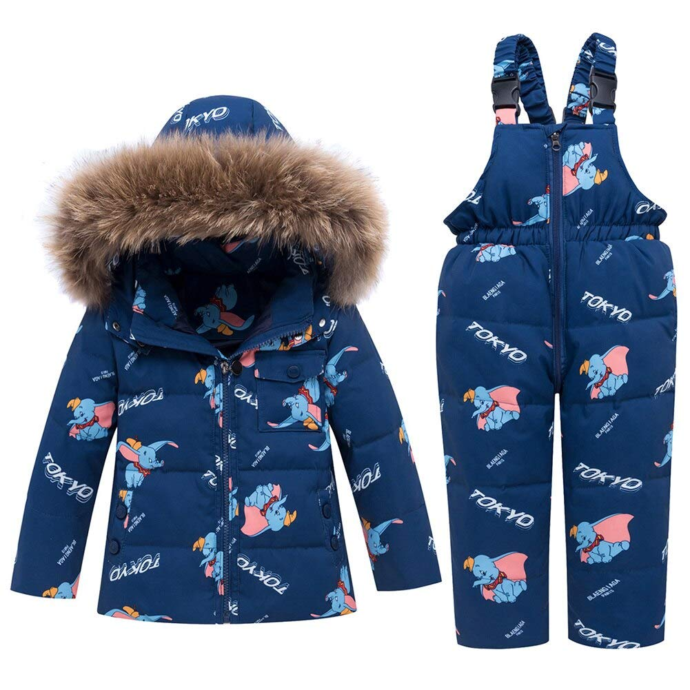 AMIYAN Baby Girls Down Jacket with Down Trousers Childrens Snowsuit with Hood 2-Piece Elephant Winter Clothing Set Snowsuit Outfit 1-6 Years