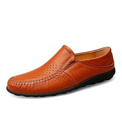 Sunny&Baby Mocasín de conducción de los Hombres Ocasionales y refrescantes Zapatos de Cuero Genuino con Suelas