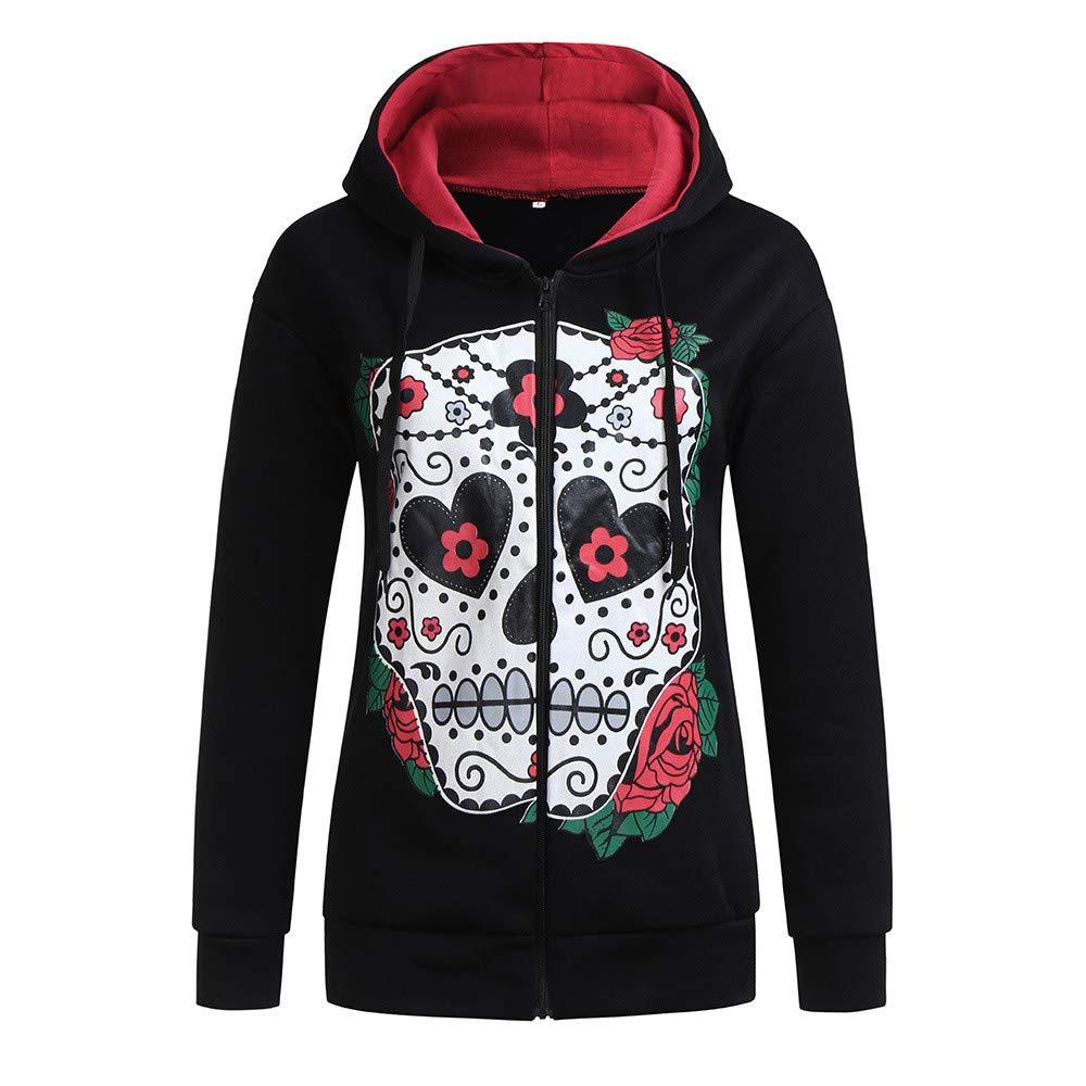 DOLDOA Women's Autumn Winter Skull Print Hoodies Casual Fashion Hooded Long Sleeve Pullover Sweatshirt